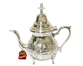 TEAPOT, Moroccan, silver, hammered, handmade Floral design, ideal gift, decoration use, tableware, extra quality.