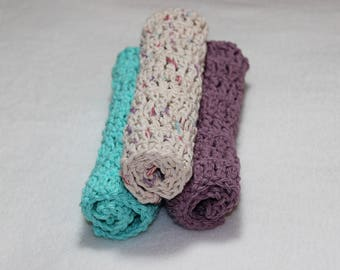 Spring Colors - Crochet Dishcloth - 3 Pack