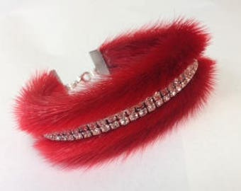 Sealskin Bracelet with Rhinestones