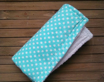Teal Polka Dot Burpie | Burp Cloth | Baby Blanket | One Piece | About 20in × 20in