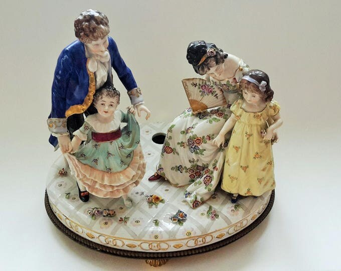 Featured listing image: 14'' Volkstedt Dresden Porcelain Figural Group Figurine Family ca. 1900 year