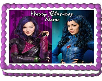 DESCENDANTS MAL and EVIE Edible cake topper party image