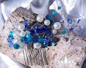 Turquoise and blue hair comb bridal hair accessories for wedding by the sea in shades of blue - Caribbean, beach, water