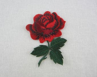 Red/Black Rose Patch, Iron On Flower Patches Love Series