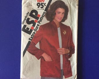 Vintage Pattern - Simplicity 9619 Misses' Unlined Jacket