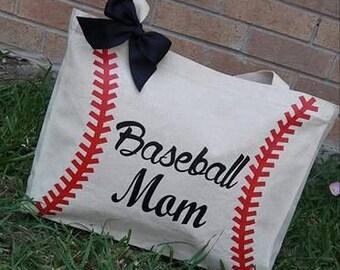 Baseball Mom Totebag   Canvas Tote    Custom Totebag    Handbag    Personalized    Handcraft