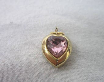 Vintage Heart Shaped Photo Locket with Pink Heart Rhinestone