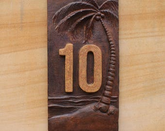 Custom House Sign, Personalised Address House Numbers, Plaque, Palm Tree RUST