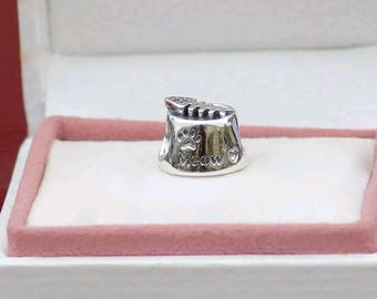 Authentic Pandora Cat  Meow Bowl Charm/New/Ale/s925