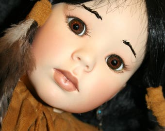 """Native American CHYNA ~ Hand Crafted OOAK Porcelain Doll ~ 24"""" Tall Indian Girl ~ Created from a Doll Art Works Mold"""