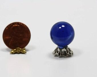 Dollhouse Miniature Dark Blue Crystal Fortune Tellers Ball on Silver Base