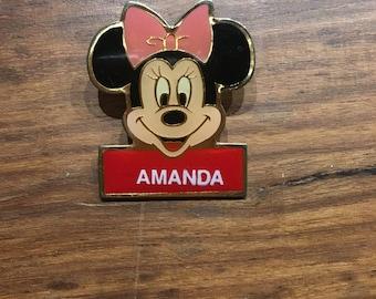 Vintage Disney Minnie Mouse pin, Amanda vintage pin