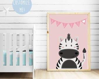 Zebra Bunting Name Nursery Print, Customize your own. Choose your own colour and name!