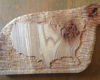 Handcarved Map of The USA in Wood
