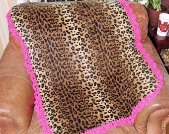 Leopard and Hot Pink Baby Blanket