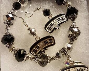 San Antonio Spurs Bracelet and earring set!