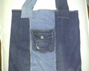 Upcycled denim tote, market bag, carry-all, beach bag, purse