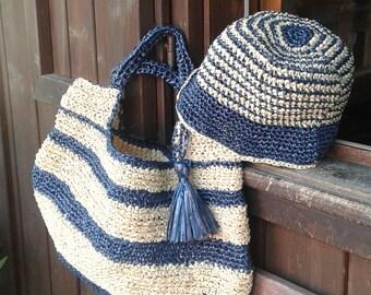 Handmade purse and raffia Hat