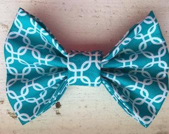 Teal Geometric Dog Bow Tie