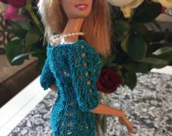 Double eyelet lace knit dress