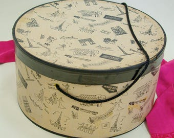 Vintage Parisian print hatbox