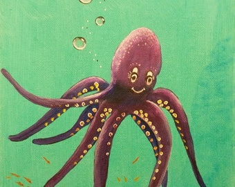 Whimsical octopus painting