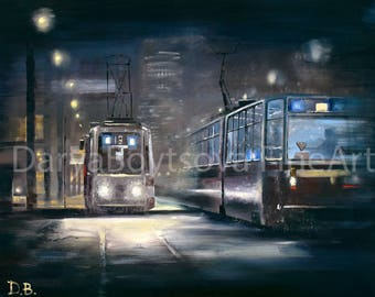 """Quality print oil painting """"Trams blues"""""""