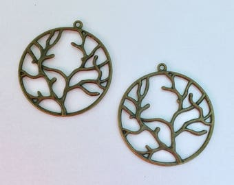 Antiqued Bronze Bare Branch Tree Charms 43 x 40mm
