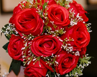 Wedding Flowers Red Roses Bouquets Approx.25cm