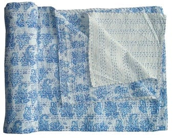 Vintage Style Handmade Kantha Bedcover/Quilt  100% Cotton