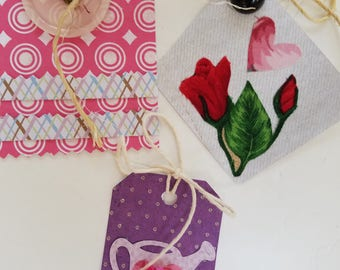 Butterflies, flowerpots, and Button Gift Tags