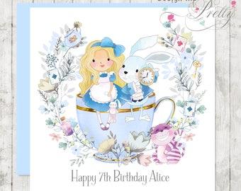 Personalised Alice in Wonderland Birthday Card