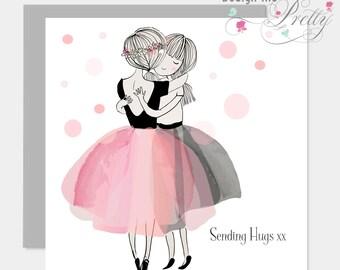 Sending hugs sympathy card