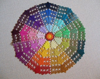 """Manége"" multicolored crochet doily"