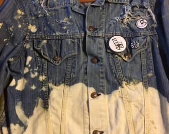 Hand-painted and bleach vintage denim jacket