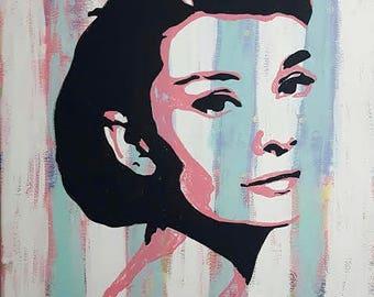 original handmade oil and acrylic on canvas painting, Audrey Hepburn