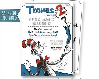 Cat In The Hat Invitation, Cat In The Hat Birthday Invitations, Cat In The Hat Party, Dr Seuss Invitation, Printables, Personalized, Digital