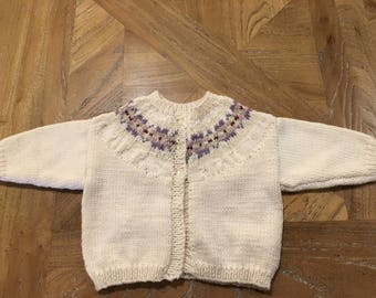 Beautiful handknit with Fairisle yoke for a new born baby 0 - 6 months