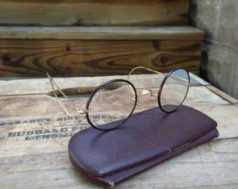 Vintage Shuron Round Windsor Style Gold Filled Eyeglasses   Harry Potter Glasses   John Lennon Glasses   Stage Props   Round Eyeglasses