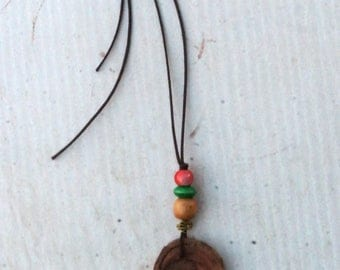 Australian Wood Amulet/Gem Necklace - half moon