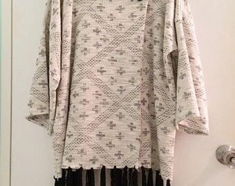 Black and White Jacquard Knit Jacket with Hand Fringing by Kaft+Kim