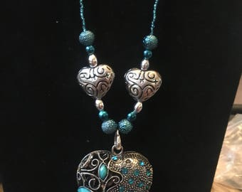 Silver heart beaded necklace and earrings set