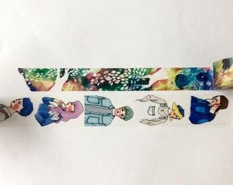 SAMPLE Washi Tape F:chocalo Watercolor Yu Ikeda colorful land & La Dolce Vita Bun gu GIRLS