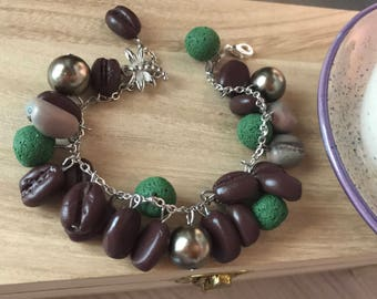 Bracelet with coffee beans in polymer clay