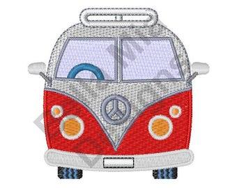 Bus - Machine Embroidery Design, Hippie Bus