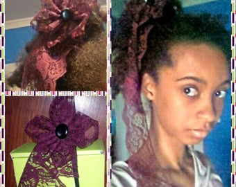 Burgundy Lace Flower Hair Sticks