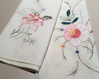 2 Vintage Cotton Tray-cloths/Hand Towels