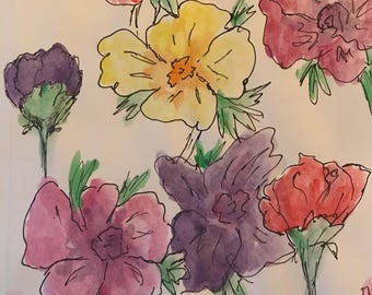 Spring Flower Watercolor Painting with Ink