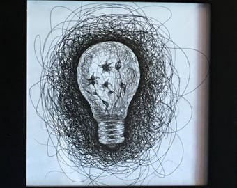 Lifebulb, scribble drawing, ink drawing, abstract art, modern art, framed art, wall art