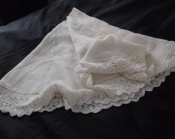 beautiful pure wool lightweight cream baby shawl